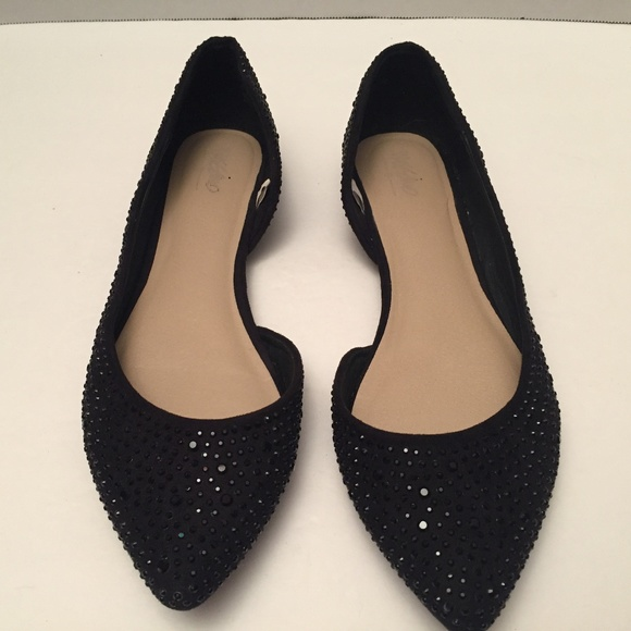 078b305cb76 Black Cut Out Ballet Pointed Toe Flats w/Sparkle